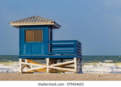 Colorful lifeguard house on beautiful Venice Beach, Florida
