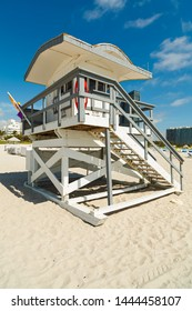 Colorful lifeguard station located on popular Miami Beach.