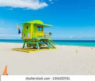 Colorful lifeguard tower in Miami Beach. Southern Florida, USA