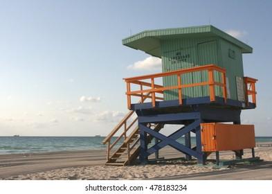 Colorful lifeguard tower in Miami Beach, Florida