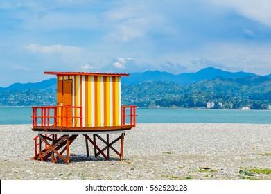 Colorful lifeguard tower on the beach in Batumi, Adjara, Georgia.