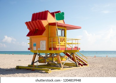 Colorful lifeguard tower on Miami Beach in Florida