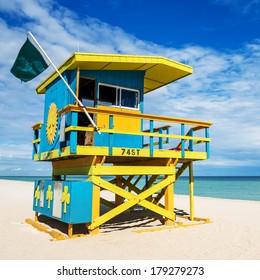 Colorful Lifeguard Tower in South Beach, Miami Beach, Florida, USA