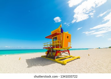 Colorful lifeguard tower under a clear sky in Miami Beach. Southern Florida, USA