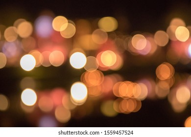 Colorful light bokeh on Loy kratong day. Famous festival of Thailand.