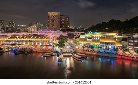 Colorful light building at night in Clarke Quay, Singapore on February 1, 2015
