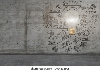 A colorful light bulb and business sketch drawn on a concrete wall