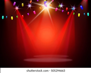Colorful light bulbs on red stage background