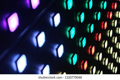 colorful light buttons in a grid at amsterdam light festival