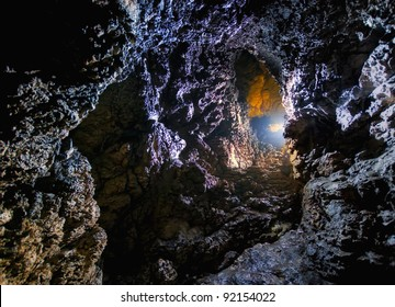 colorful light in a dark cave
