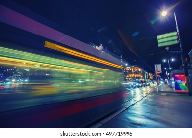 colorful light trace from night traffic in the city