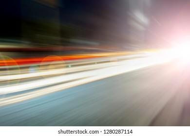 Colorful Light trails of live traffic of roads.