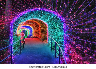 Colorful light tunnel at night designed for holidays
