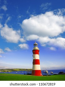Colorful Lighthouse in Plymouth, Devon, England