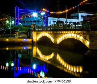 Colorful lights and bridge in Bridgetown, Barbados