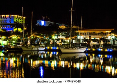 Colorful lights and yacht basin in Bridgetown, Barbados