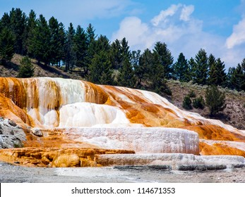 Colorful limestone travertine deposits at mammoth Hot Springs in Wyoming's Yellowstone National Park.