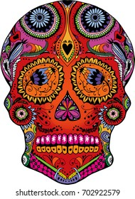Colorful, line art Sugar Skull