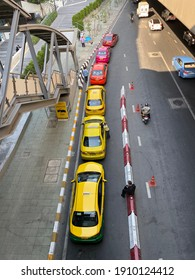A colorful line of taxis waiting for their customers at Central Ladprao, Bangkok on 5th February 2021