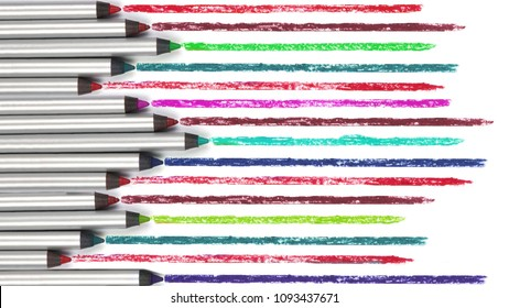 Colorful lip liner on white isolated background. Lipstick.