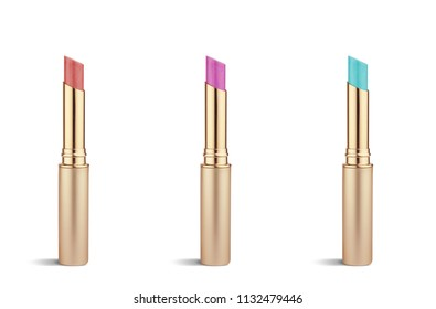 Colorful lipstick isolated on white