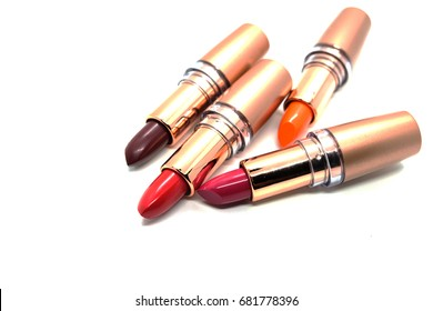 colorful lipstick in isolated white background