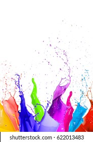 Colorful liquid paint splashes different colors on white background