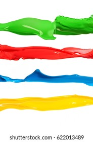 Colorful liquid paint splashes different colors lines on white background