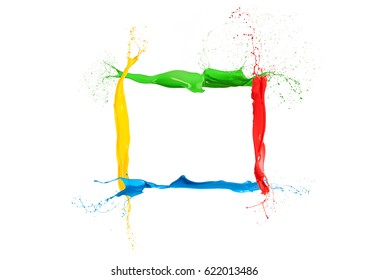 Colorful liquid paint splashes frame mixed colors on white background