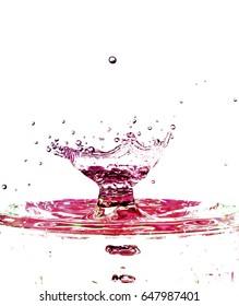 Colorful liquid splash isolated on white background closeup
