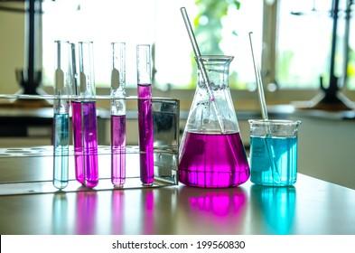 Colorful liquids in a laboratory.