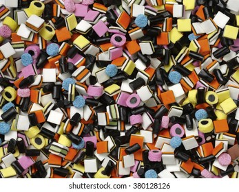 Colorful liquorice all sorts shot from the top
