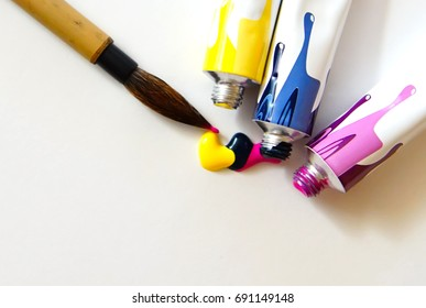 colorful little acrylic on canvas, white background, watercolor brush, pink blue yellow
