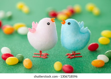 Colorful little chicks for a cheerful easter decoration