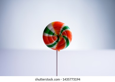 Colorful lolipop candy on white isolated background