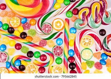 Colorful lollipops and different candies