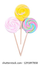Colorful lollipops isolated on white background. Studio shot