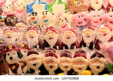 Colorful lollipops on display at Warsaw Christmas Market. Sweet candies and lollipopos in the Christmas stall