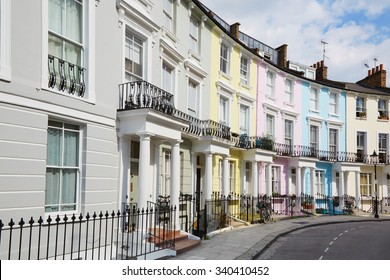 Colorful London houses in Primrose hill, english architecture