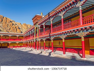 Colorful long corridor in Compound of Famous Hemis monastery, Ladakh, India