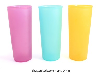 Colorful long plastic cups
