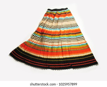 Colorful long skirt. Skirt on elastic. Summer clothes.