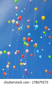 colorful lots of balloons in the sky