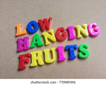 Colorful 'Low hanging fruits' word