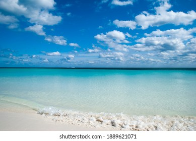 The colorful Lucaya beach waters in Freeport town on Grand Bahama island.