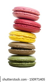 Colorful Macaron isolated on white with clipping path