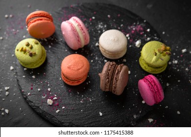 Colorful macarons cakes. Small French desert. Assorted Confectionery Range.