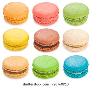Colorful macarons isolated on white background.