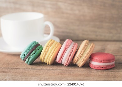 colorful macarons with vintage pastel filtered