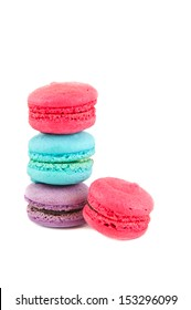 The colorful macaroon isolated on white background